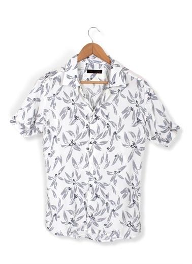 Oksit Darcy Apaj Yaka Yaprak Desenli Slim Fit Erkek Gömlek Beyaz